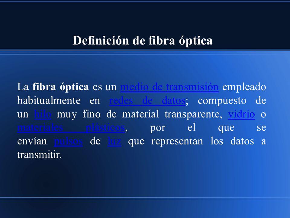 Definición de fibra óptica La fibra óptica es un medio de transmisión empleado habitualmente en redes de datos; compuesto de un hilo muy fino de material transparente, vidrio o materiales plásticos, por el que se envían pulsos de luz que representan los datos a transmitir.