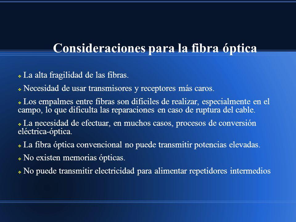 Consideraciones para la fibra óptica La alta fragilidad de las fibras. Necesidad de usar transmisores y receptores más caros. Los empalmes entre fibra