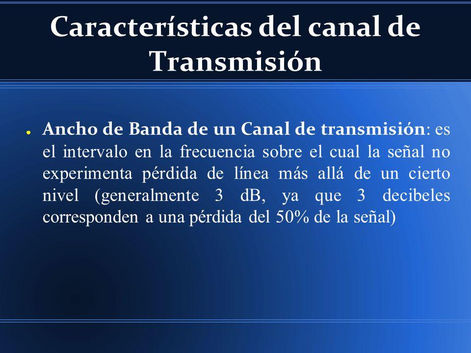 Características del canal de Transmisión Ancho de Banda de un Canal de transmisión: es el intervalo en la frecuencia sobre el cual la señal no experimenta pérdida de línea más allá de un cierto nivel (generalmente 3 dB, ya que 3 decibeles corresponden a una pérdida del 50% de la señal)
