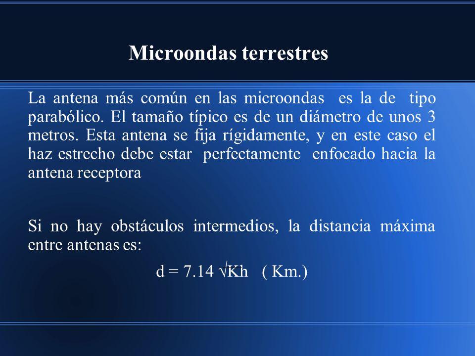 Microondas terrestres La antena más común en las microondas es la de tipo parabólico. El tamaño típico es de un diámetro de unos 3 metros. Esta antena