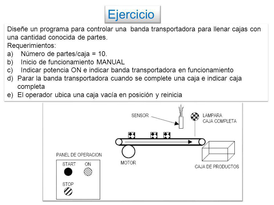 Ejercicio Diseñe un programa para controlar una banda transportadora para llenar cajas con una cantidad conocida de partes. Requerimientos: a)Número d