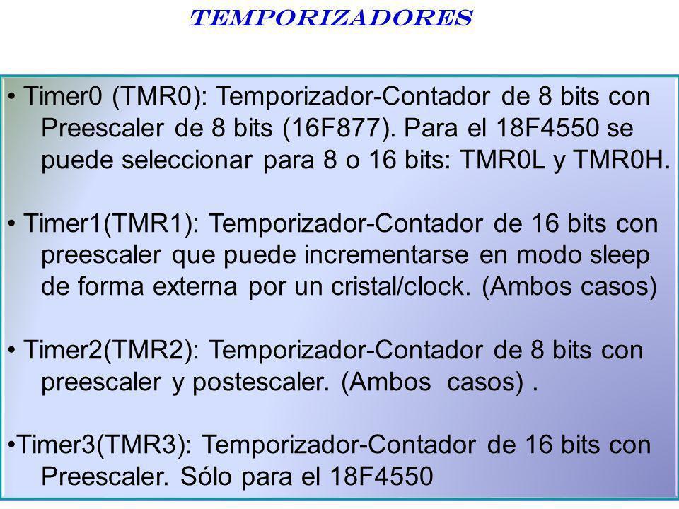 Temporizadores Timer0 (TMR0): Temporizador-Contador de 8 bits con Preescaler de 8 bits (16F877). Para el 18F4550 se puede seleccionar para 8 o 16 bits
