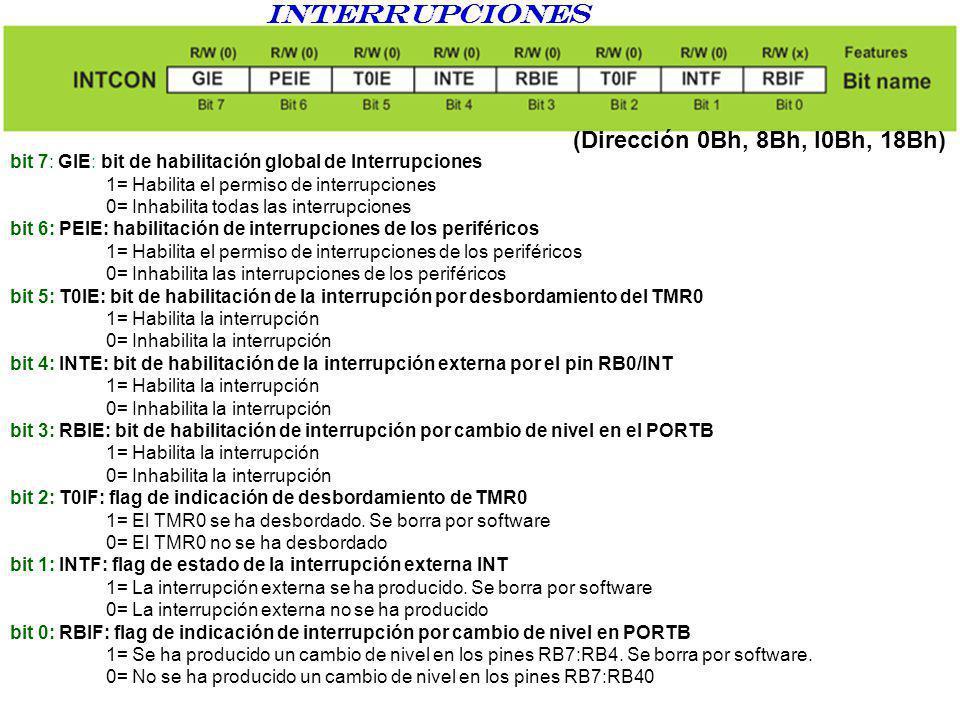 interrupciones (Dirección 0Bh, 8Bh, l0Bh, 18Bh) bit 7: GIE: bit de habilitación global de Interrupciones 1= Habilita el permiso de interrupciones 0= I