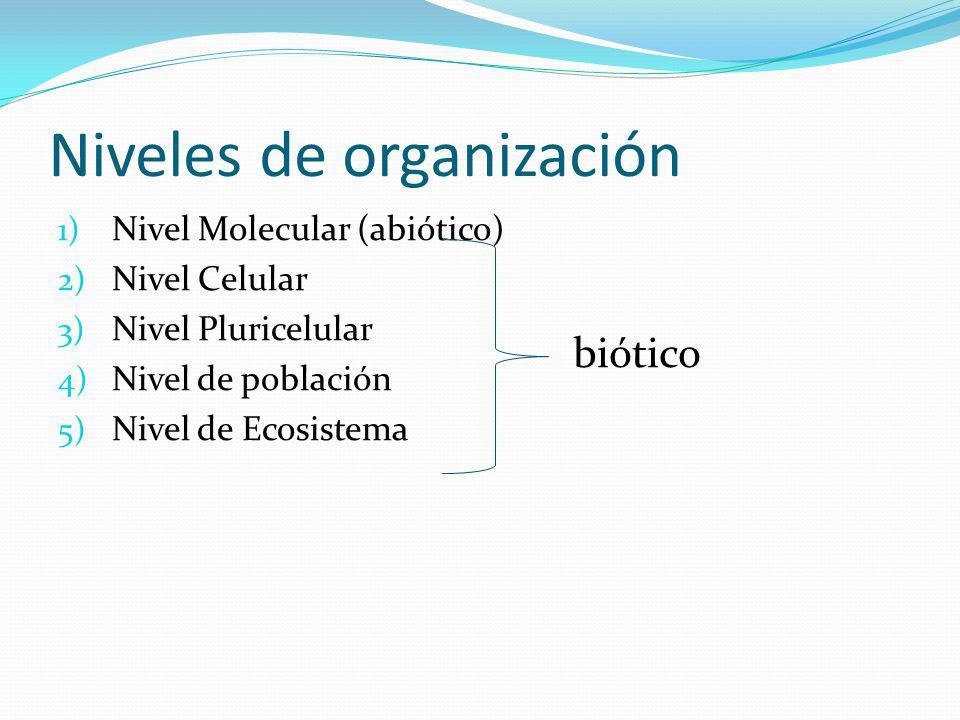 Niveles de organización 1) Nivel Molecular (abiótico) 2) Nivel Celular 3) Nivel Pluricelular 4) Nivel de población 5) Nivel de Ecosistema biótico