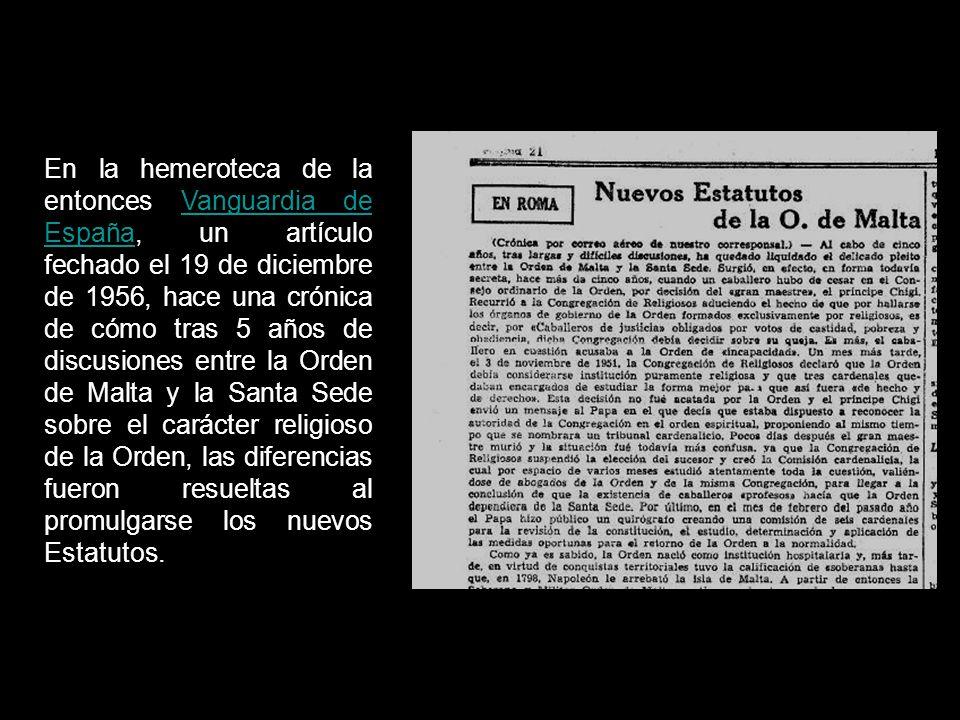 ORDEN DE MALTA Y LA SANTA SEDE