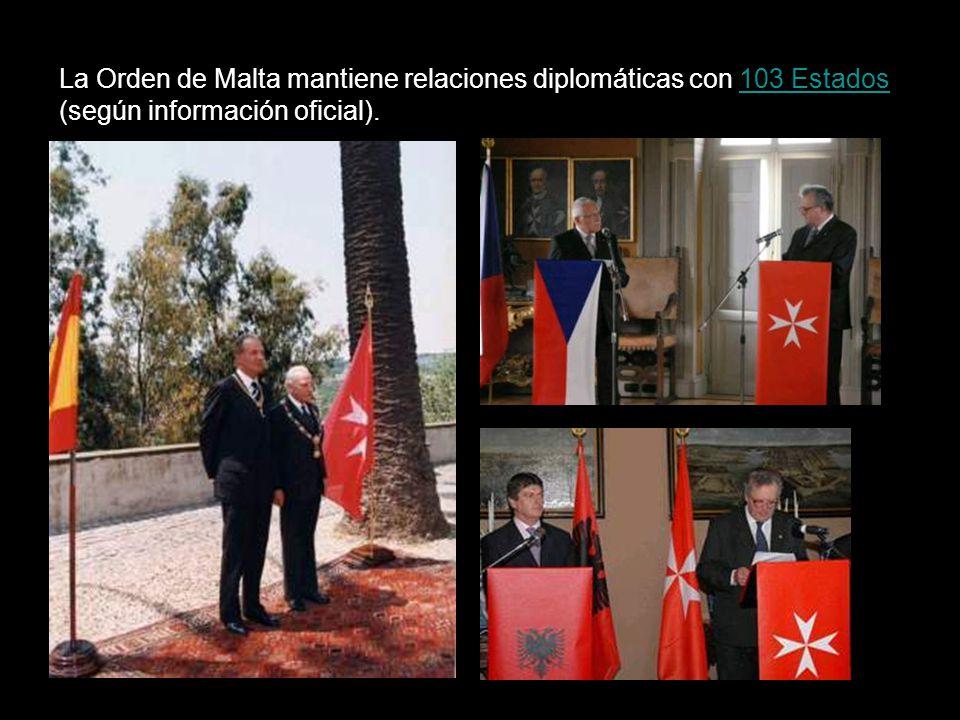 La Orden de Malta mantiene relaciones diplomáticas con 103 Estados (según información oficial).103 Estados