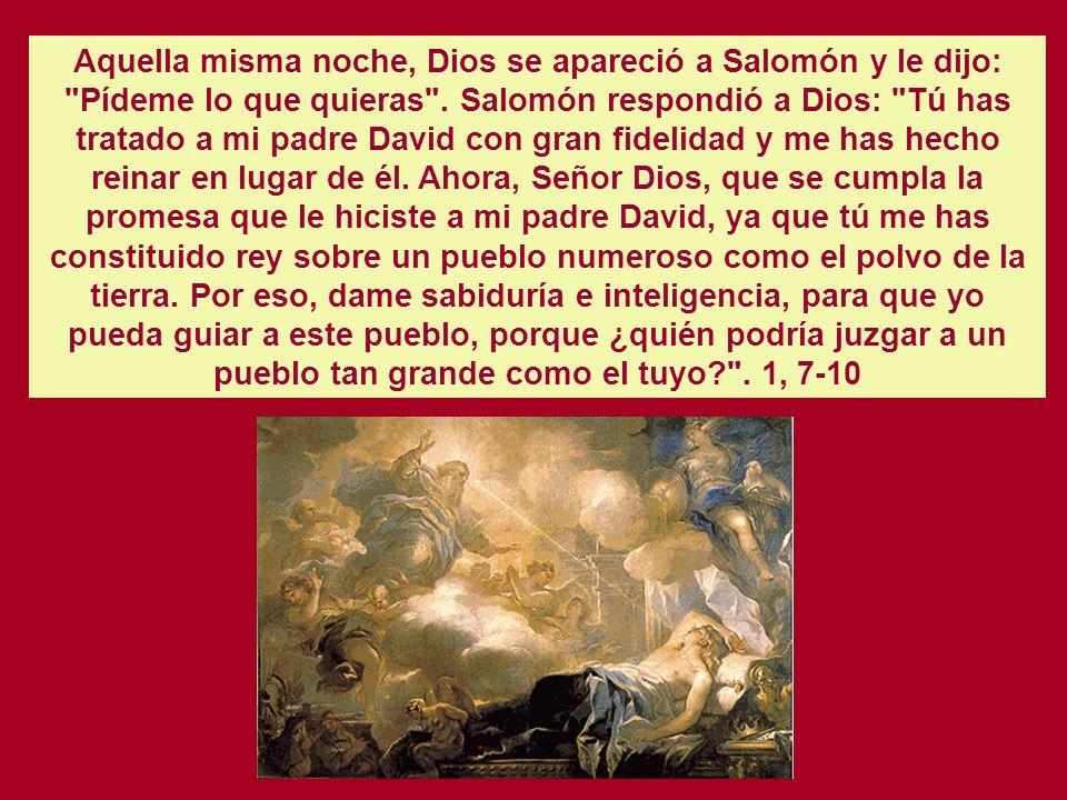 Cap. 1 EL SUEÑO Y LA SUPLICA DE SALOMON EN GABAON. Salomón, hijo de David, se afianzó en su trono, y el Señor, su Dios, estaba con él y lo engrandeció