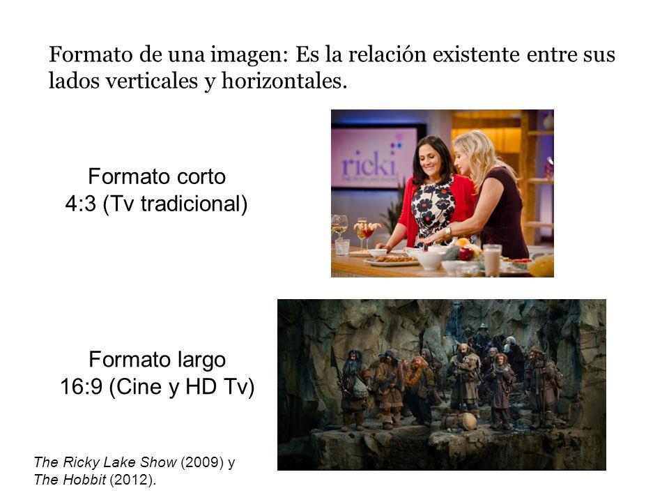Formato de una imagen: Es la relación existente entre sus lados verticales y horizontales. Formato corto 4:3 (Tv tradicional) Formato largo 16:9 (Cine