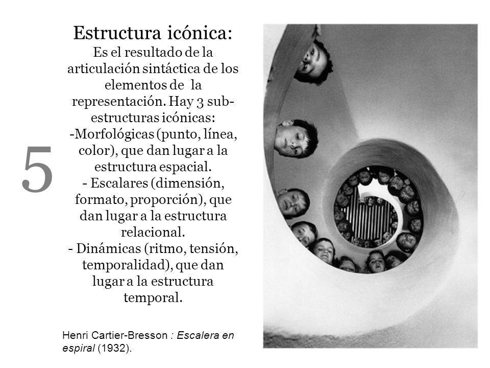 Estructura icónica: Es el resultado de la articulación sintáctica de los elementos de la representación. Hay 3 sub- estructuras icónicas: -Morfológica