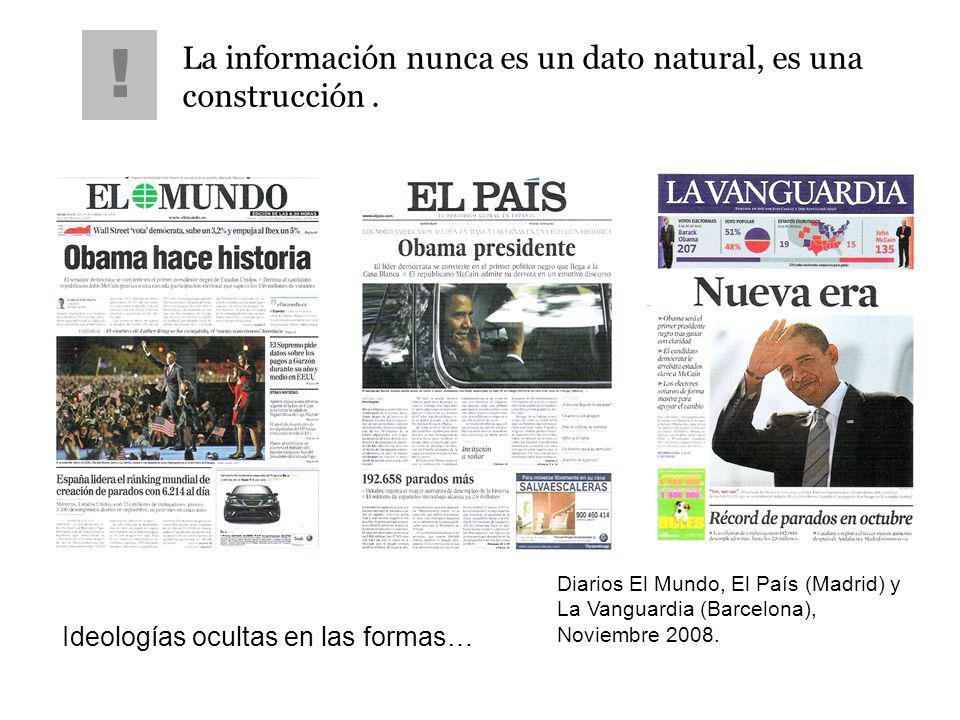 La información nunca es un dato natural, es una construcción. ! Ideologías ocultas en las formas… Diarios El Mundo, El País (Madrid) y La Vanguardia (