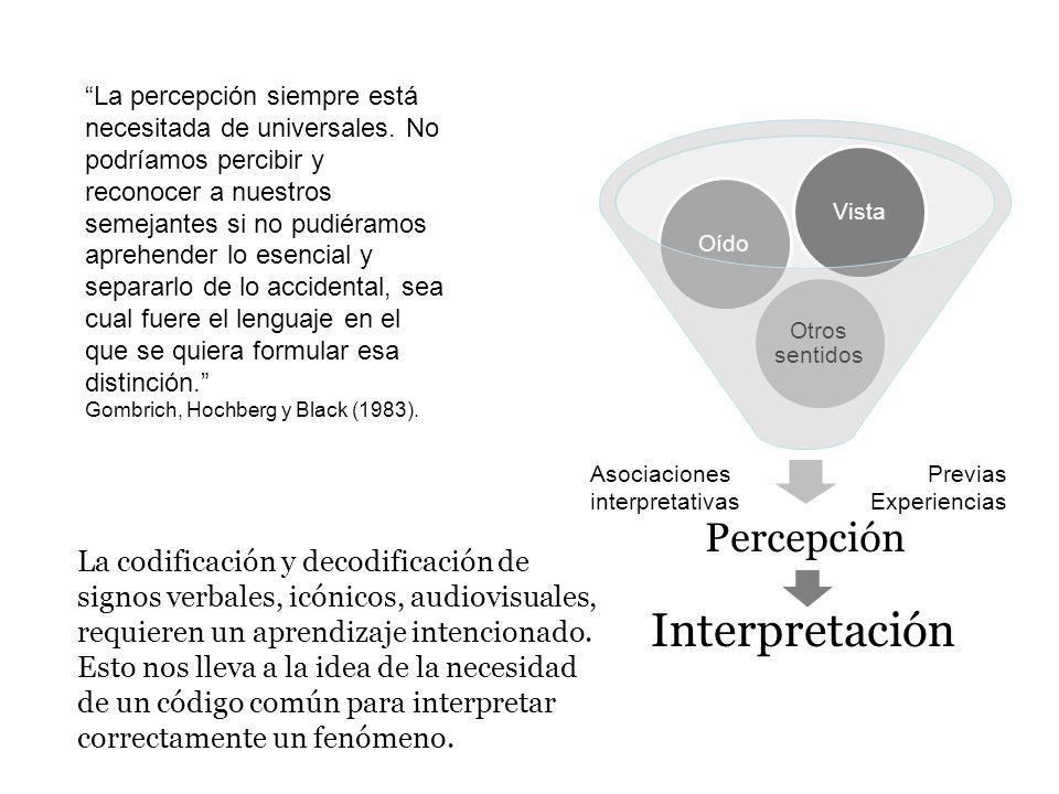 Percepción Otros sentidos OídoVista Asociaciones interpretativas Previas Experiencias La percepción siempre está necesitada de universales. No podríam