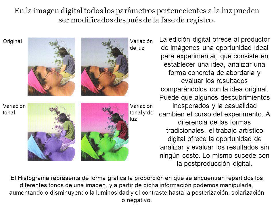 En la imagen digital todos los parámetros pertenecientes a la luz pueden ser modificados después de la fase de registro. La edición digital ofrece al