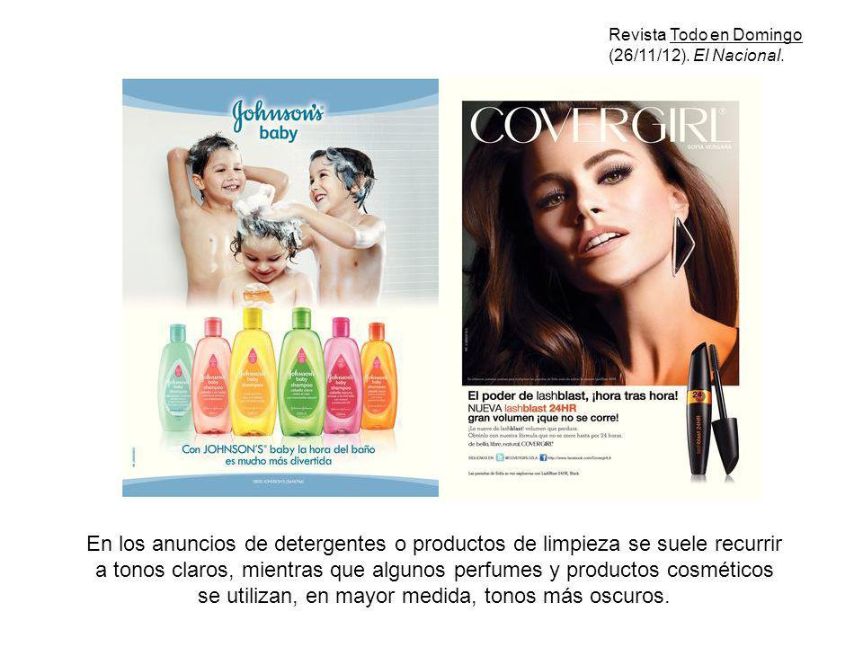 En los anuncios de detergentes o productos de limpieza se suele recurrir a tonos claros, mientras que algunos perfumes y productos cosméticos se utili