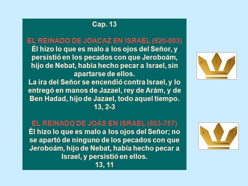 Cap. 12 EL REINADO DE JOÁS EN JUDÁ (835-796) Joás hizo lo que es recto a los ojos del Señor durante toda su vida, porque el sacerdote Yehoyadá lo habí