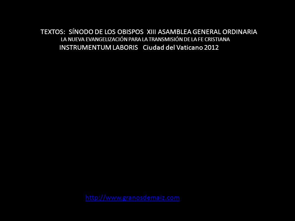 TEXTOS: SÍNODO DE LOS OBISPOS XIII ASAMBLEA GENERAL ORDINARIA LA NUEVA EVANGELIZACIÓN PARA LA TRANSMISIÓN DE LA FE CRISTIANA INSTRUMENTUM LABORIS Ciudad del Vaticano 2012 http://www.granosdemaiz.com