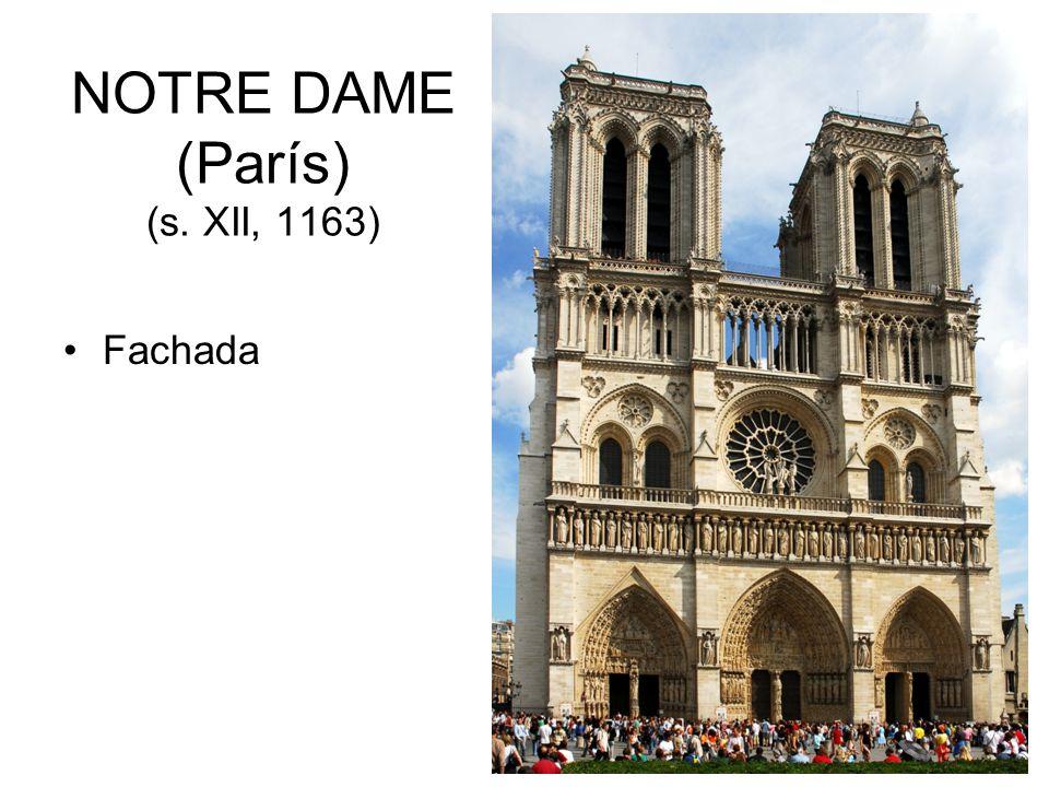 NOTRE DAME (París) (s. XII, 1163) Fachada