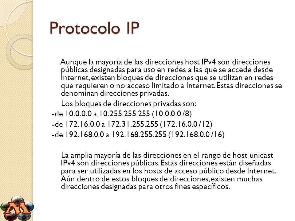 Aunque la mayoría de las direcciones host IPv4 son direcciones públicas designadas para uso en redes a las que se accede desde Internet, existen bloqu