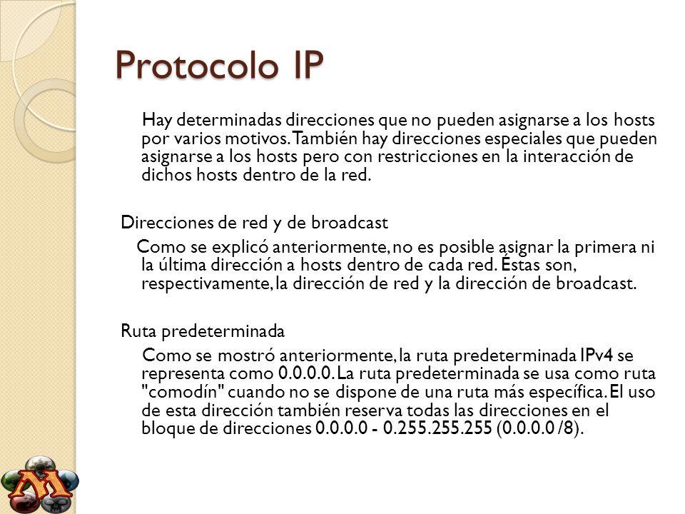 Protocolo IP Hay determinadas direcciones que no pueden asignarse a los hosts por varios motivos. También hay direcciones especiales que pueden asigna