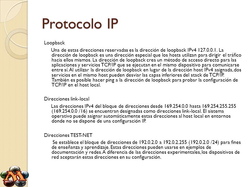 Protocolo IP Loopback Una de estas direcciones reservadas es la dirección de loopback IPv4 127.0.0.1. La dirección de loopback es una dirección especi