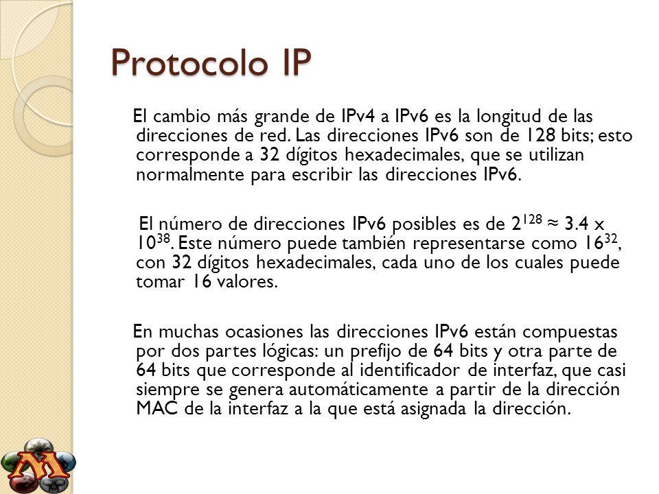 Protocolo IP El cambio más grande de IPv4 a IPv6 es la longitud de las direcciones de red. Las direcciones IPv6 son de 128 bits; esto corresponde a 32