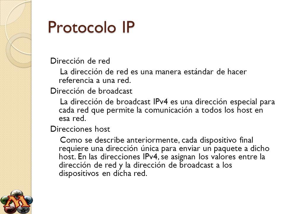 Protocolo IP Dirección de red La dirección de red es una manera estándar de hacer referencia a una red. Dirección de broadcast La dirección de broadca