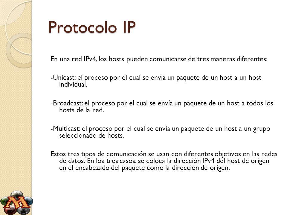 Protocolo IP En una red IPv4, los hosts pueden comunicarse de tres maneras diferentes: -Unicast: el proceso por el cual se envía un paquete de un host
