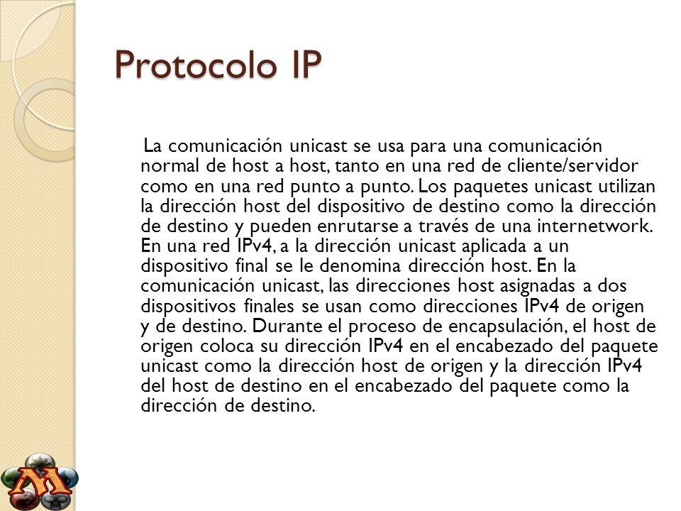 Protocolo IP La comunicación unicast se usa para una comunicación normal de host a host, tanto en una red de cliente/servidor como en una red punto a