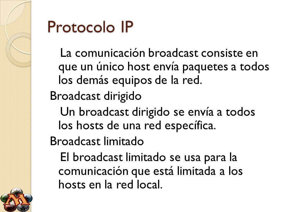 Protocolo IP La comunicación broadcast consiste en que un único host envía paquetes a todos los demás equipos de la red. Broadcast dirigido Un broadca