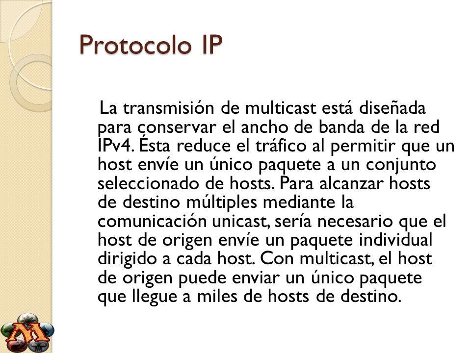 Protocolo IP La transmisión de multicast está diseñada para conservar el ancho de banda de la red IPv4. Ésta reduce el tráfico al permitir que un host