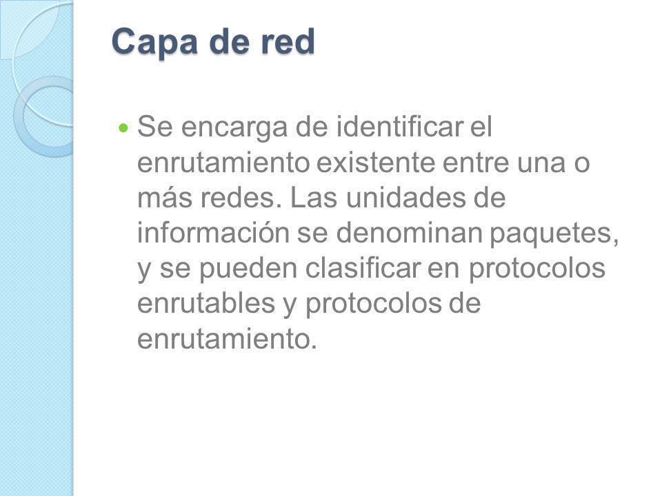 Capa de transporte Capa encargada de efectuar el transporte de los datos (que se encuentran dentro del paquete) de la máquina origen a la de destino,