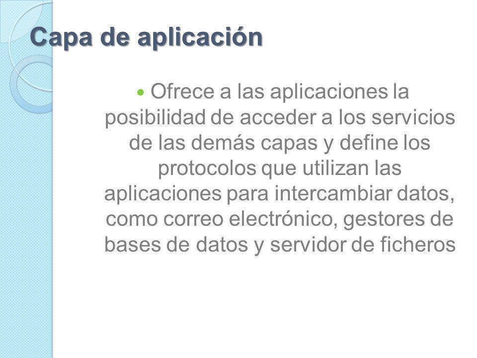 Capas del modelo OSI: Capa 7: La capa de Aplicación. Capa 6: La capa de Presentación. Capa 5: La capa de Sesión. Capa 4: La capa de Transporte. Capa 3