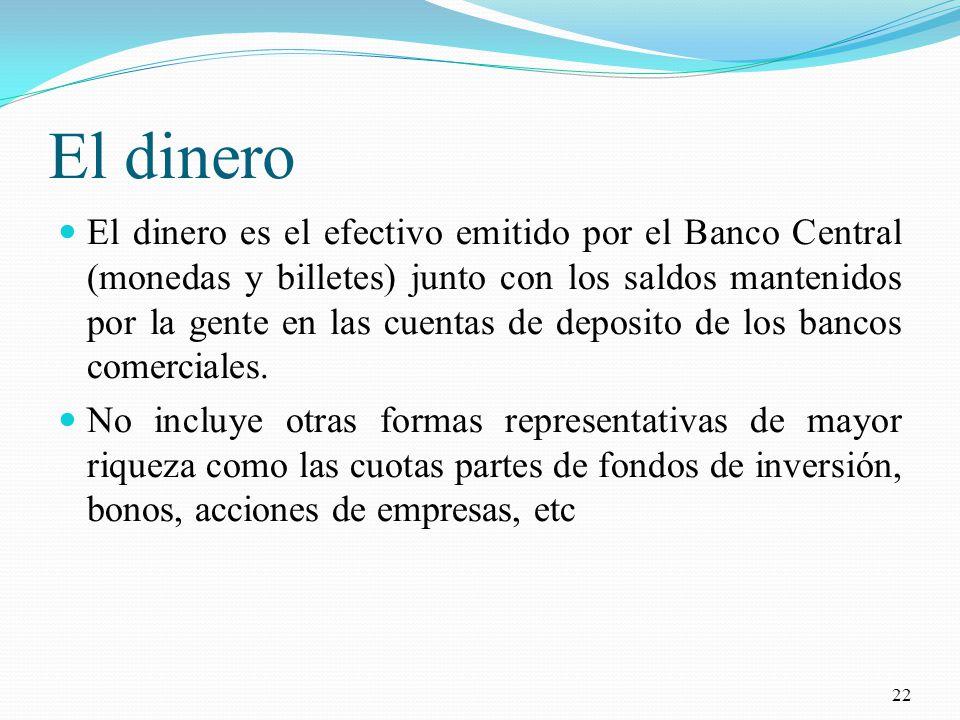 El dinero El dinero es el efectivo emitido por el Banco Central (monedas y billetes) junto con los saldos mantenidos por la gente en las cuentas de deposito de los bancos comerciales.