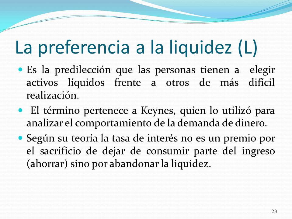 La preferencia a la liquidez (L) Es la predilección que las personas tienen a elegir activos líquidos frente a otros de más difícil realización.