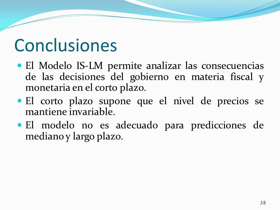 Conclusiones El Modelo IS-LM permite analizar las consecuencias de las decisiones del gobierno en materia fiscal y monetaria en el corto plazo.