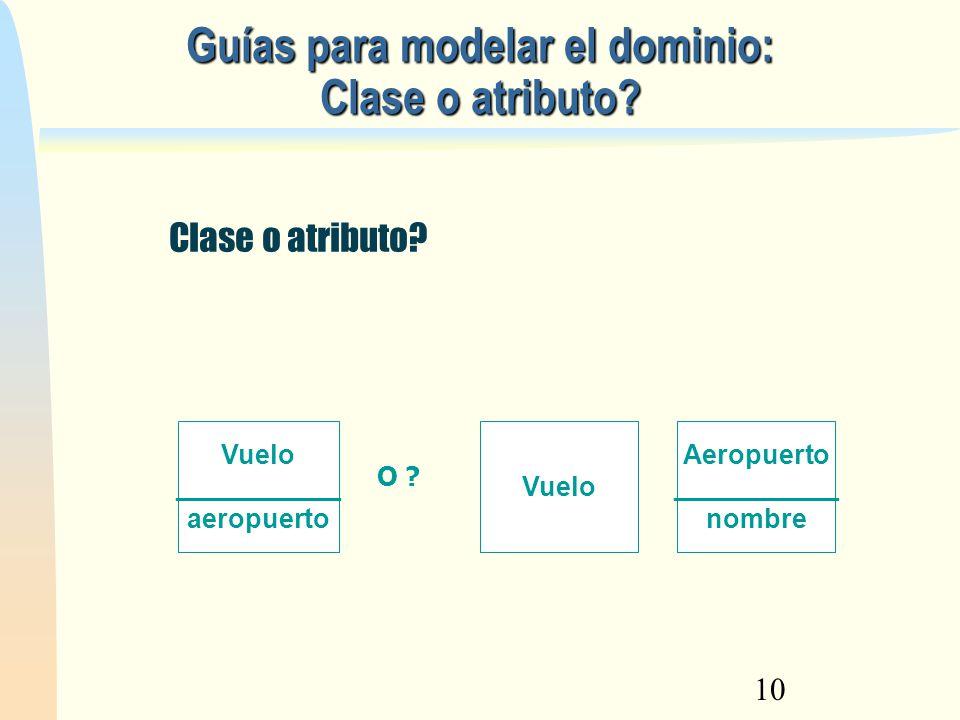 10 Guías para modelar el dominio: Clase o atributo? Clase o atributo? Vuelo ___________ aeropuerto Aeropuerto ___________ nombre Vuelo O ?