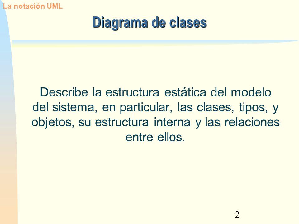 2 Describe la estructura estática del modelo del sistema, en particular, las clases, tipos, y objetos, su estructura interna y las relaciones entre el