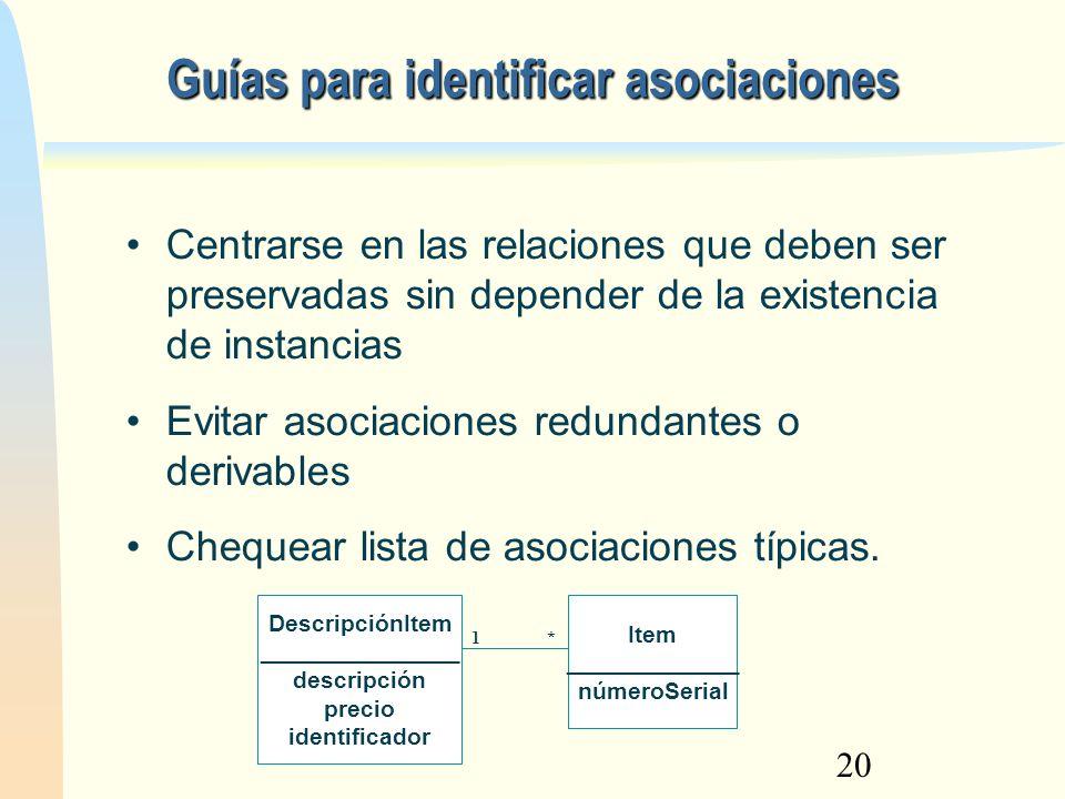 20 Guías para identificar asociaciones DescripciónItem _______________ descripción precio identificador Item _____________ númeroSerial 1* Centrarse e
