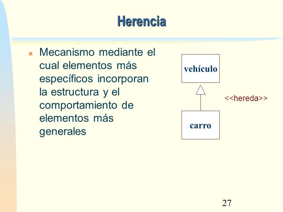 27 Herencia Mecanismo mediante el cual elementos más específicos incorporan la estructura y el comportamiento de elementos más generales vehículo carr