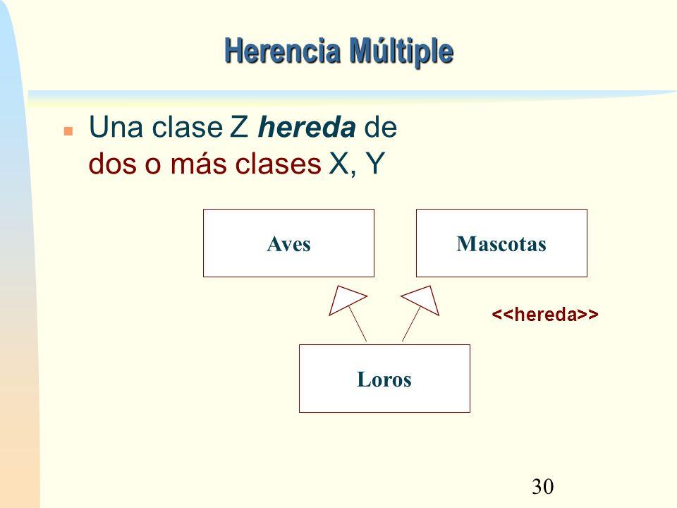 30 Herencia Múltiple > Una clase Z hereda de dos o más clases X, Y Aves Loros Mascotas