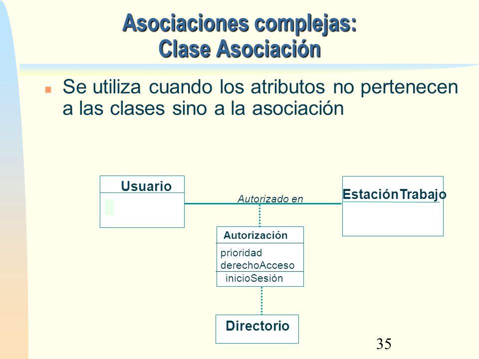 35 Asociaciones complejas: Clase Asociación Se utiliza cuando los atributos no pertenecen a las clases sino a la asociación prioridad derechoAcceso Us