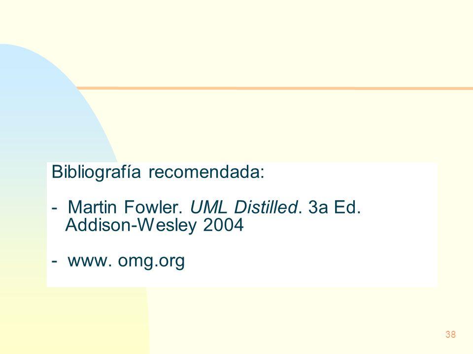38 Bibliografía recomendada: - Martin Fowler. UML Distilled. 3a Ed. Addison-Wesley 2004 - www. omg.org