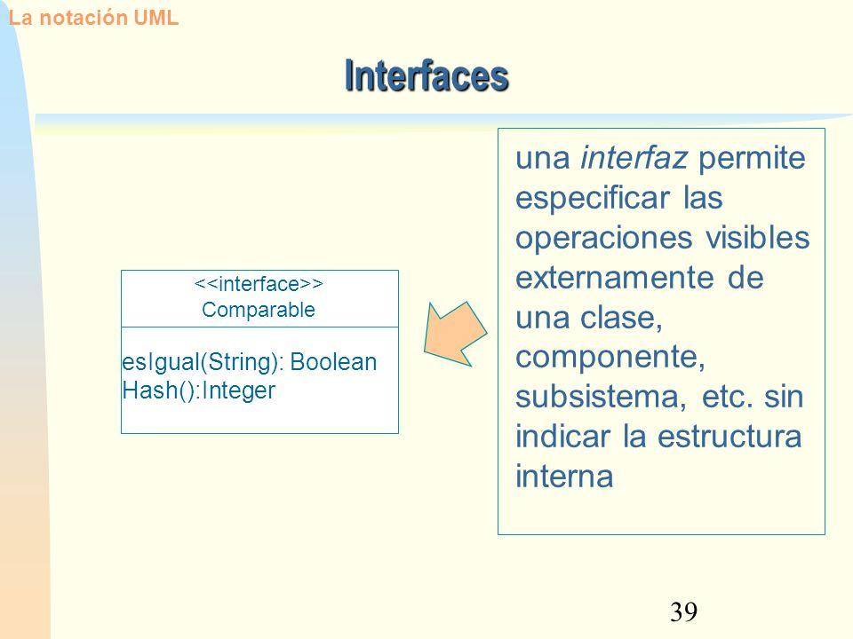 39 una interfaz permite especificar las operaciones visibles externamente de una clase, componente, subsistema, etc. sin indicar la estructura interna