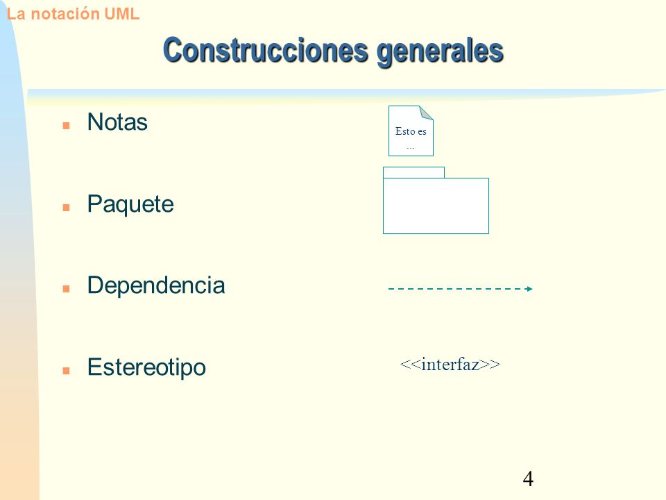 4 Construcciones generales Notas Paquete Dependencia Estereotipo Esto es... > La notación UML