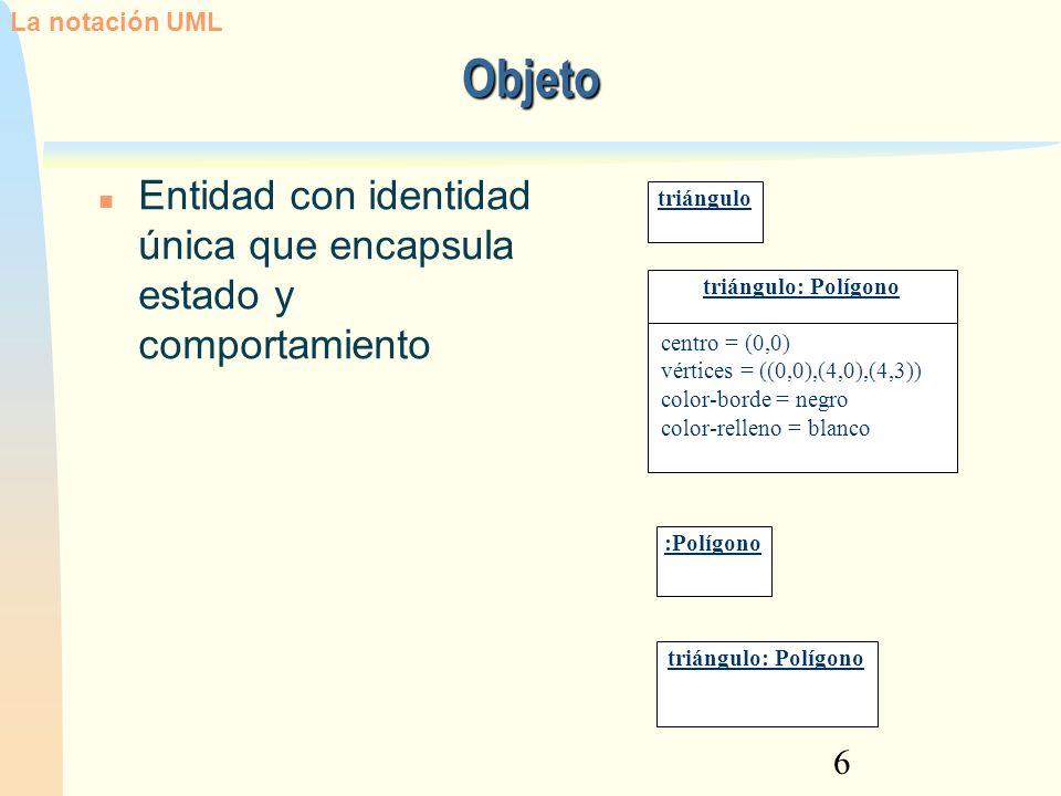 7 Clase: Estereotipos La notación UML Un símbolo de clase puede contener o no un estereotipo.