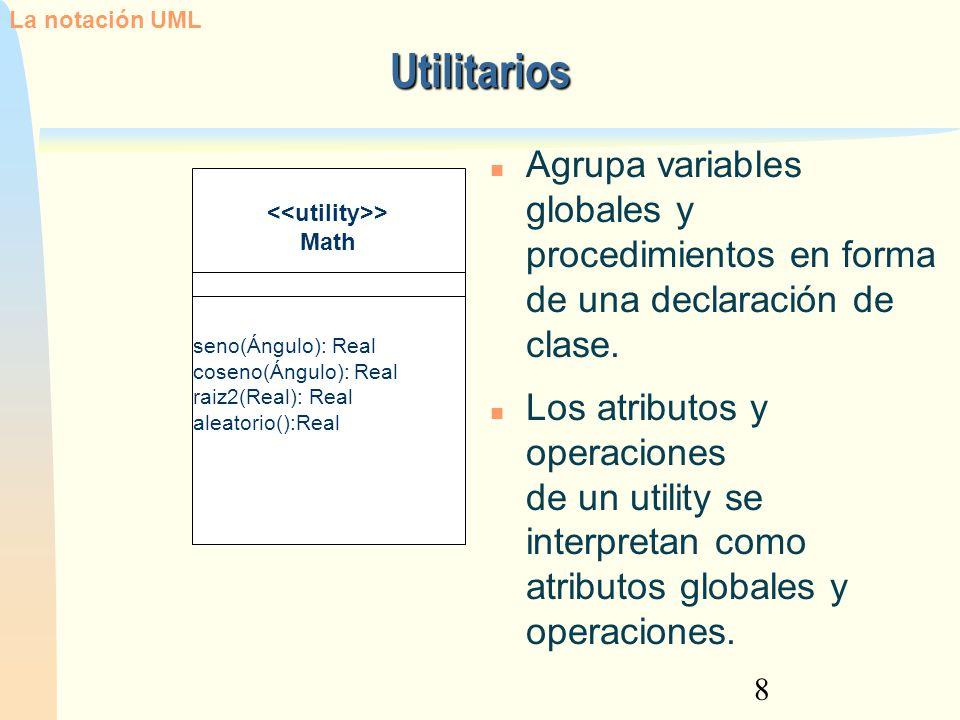 8 Utilitarios La notación UML > Math seno(Ángulo): Real coseno(Ángulo): Real raiz2(Real): Real aleatorio():Real Agrupa variables globales y procedimie