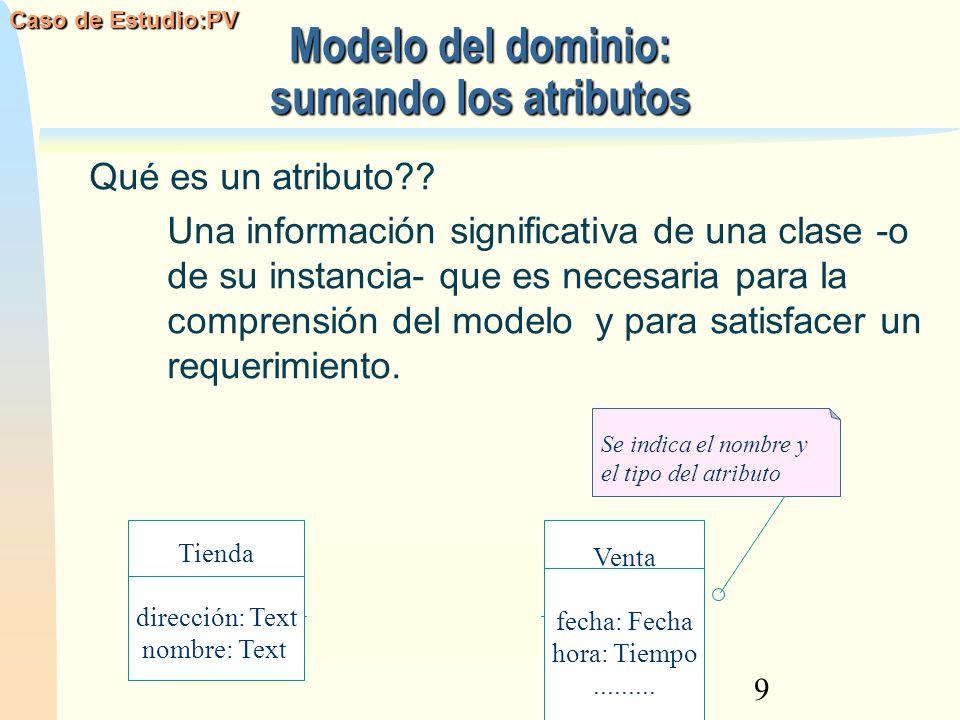 9 Modelo del dominio: sumando los atributos Qué es un atributo?? Una información significativa de una clase -o de su instancia- que es necesaria para