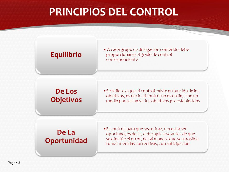 Page 3 PRINCIPIOS DEL CONTROL A cada grupo de delegación conferido debe proporcionarse el grado de control correspondiente Equilibrio Se refiere a que