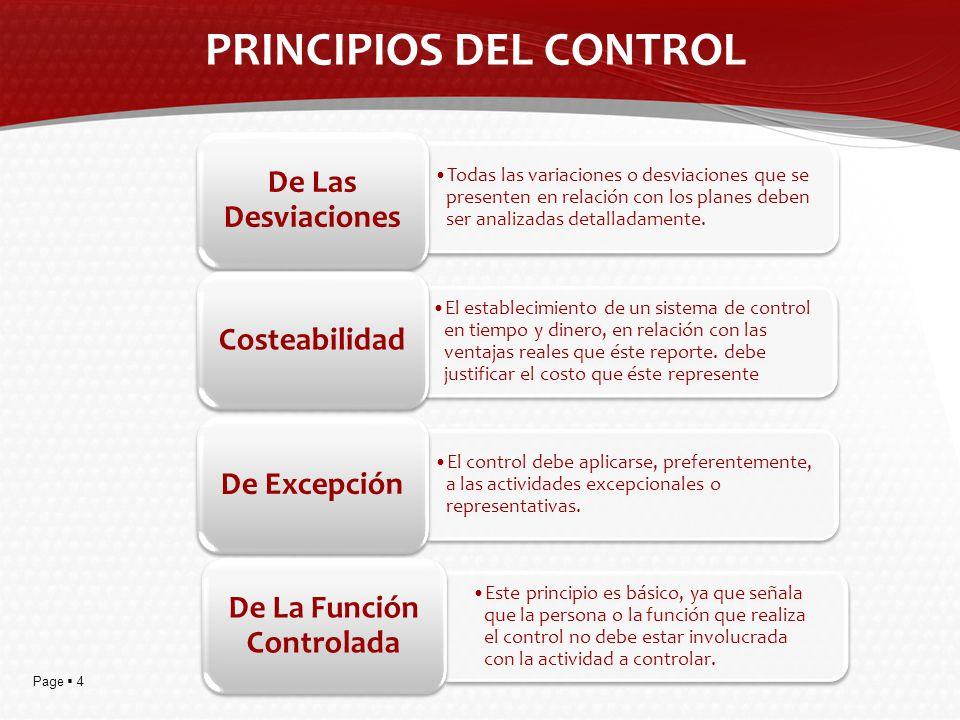 Page 5 PROCESOS DEL CONTROL Acá se encuentran incluidos todos los estándares o unidades de medición que se establezcan en la Planificación, y por lo tanto, la cantidad de unidades a producir, la cantidad de unidades a vender, requerimientos de calidad, etc.