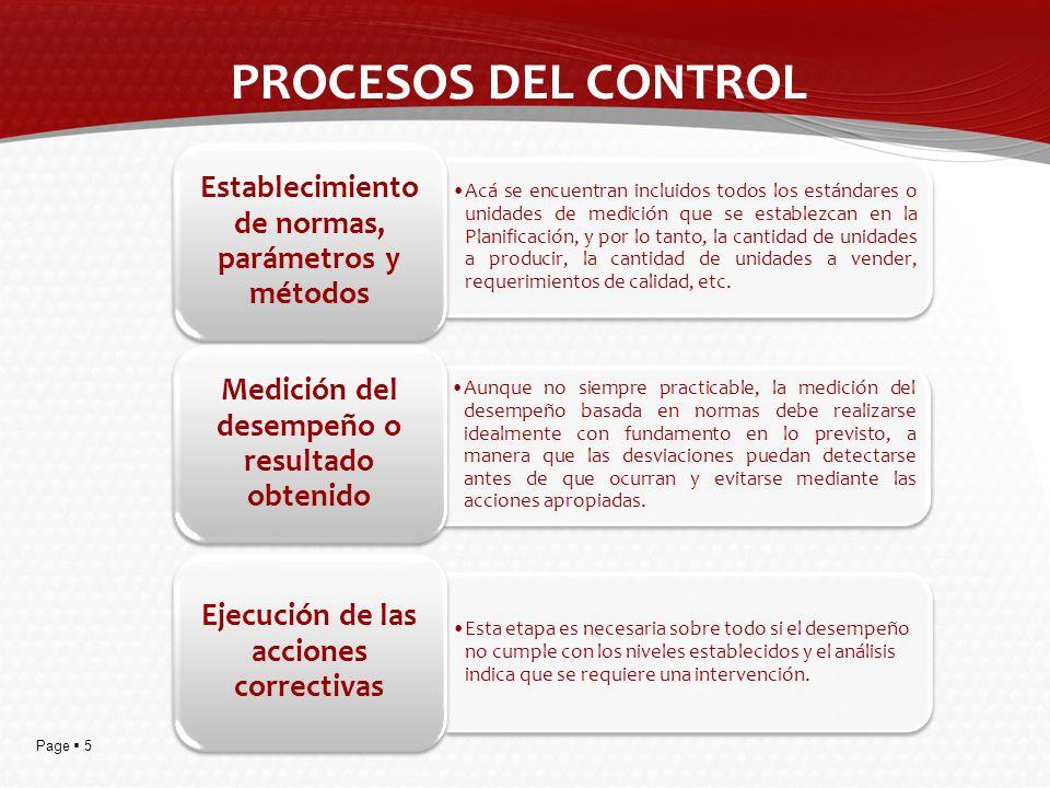 Page 5 PROCESOS DEL CONTROL Acá se encuentran incluidos todos los estándares o unidades de medición que se establezcan en la Planificación, y por lo t