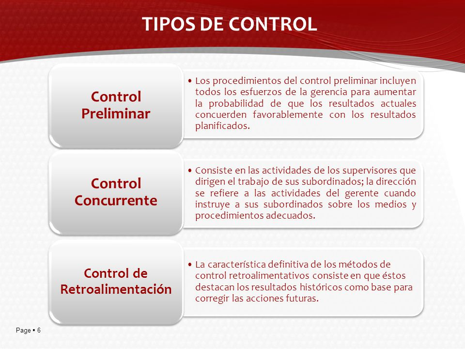 Page 6 TIPOS DE CONTROL Los procedimientos del control preliminar incluyen todos los esfuerzos de la gerencia para aumentar la probabilidad de que los